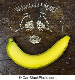 enfants, dessin, jaune, banane