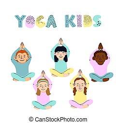 enfants, différent, illustrations, poses, yoga