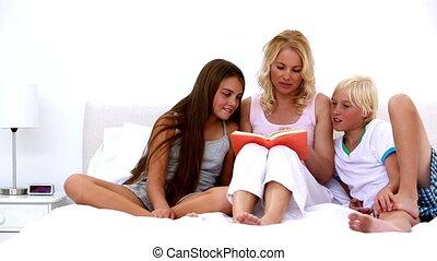 enfants, elle, mère, lecture