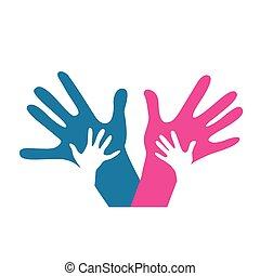 enfants, et, adultes, mains ensemble