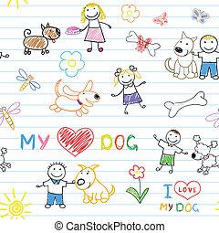 enfants, et, chiens