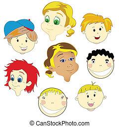 enfants, faces