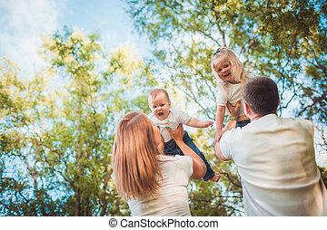 enfants, famille, heureux