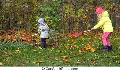 enfants, garden., mouvement, peu, assistants, deux, feuilles, ratisser, gimbal