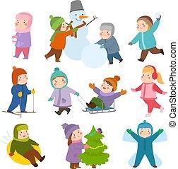enfants, gosses, genres, hiver, boule de neige, kiddy, fetes, patinage, jeux, cour de récréation, récréation, sport, jouer, noël
