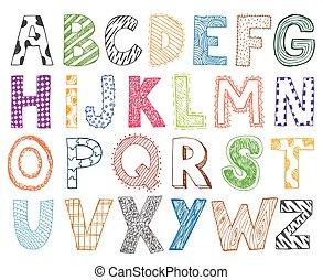enfants, gosses, lettre, main, dessiné, dessin animé, alphabet