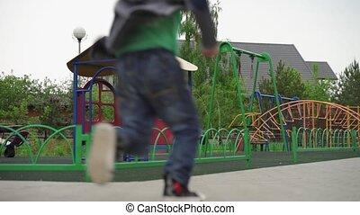 enfants, gosses, ouvert, heureux, playground., lockdown, ...