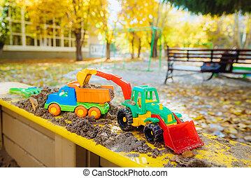 enfants, gros plan, sandbox, jouets