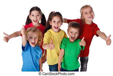 enfants, groupe, haut, pouces, signe