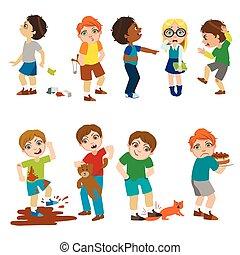 enfants, illustration, moyenne