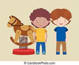 enfants, illustration, vecteur