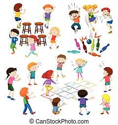 enfants, jeu, jeux, espèce, différent