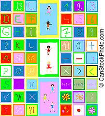enfants jouer, alphabet, nombres