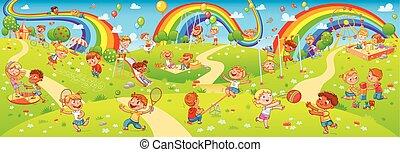 enfants jouer, dans, playground., seamless, enfants, panorama, pour, ton, conception