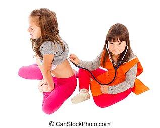 enfants jouer, docteur, patient