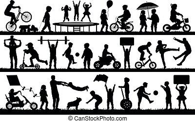 enfants jouer, extérieur, silhouette