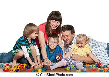 enfants jouer, famille, plancher
