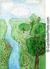 """enfants, """"landscape"""", dessins"""