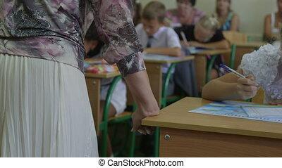 enfants, leçon, prof