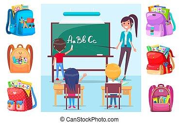 enfants, lettres, prof, eduquer leçon, apprentissage