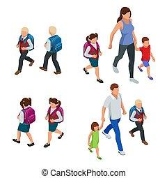 enfants, leur, schoolchildren., isométrique, school., parents, dos