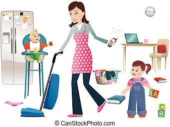 enfants, mère, occupé
