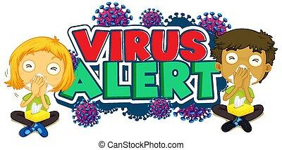 enfants malades, alerte, virus, mot, conception, police
