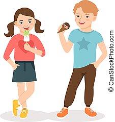 enfants mangeant, dessin animé, glace