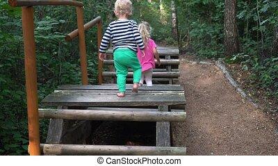 enfants, marche, bois, par, pont, bâtons