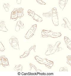 enfants, modèle, croquis, main, vecteur, fond, simple, dessiner, homme, chaussures, femme, seamless