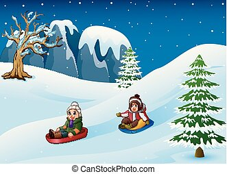 enfants, neige, sledding, descendant