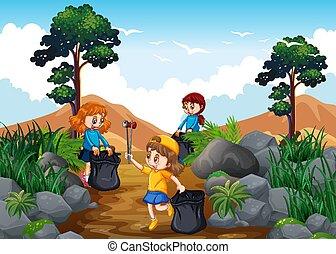 enfants, nettoyage, a, trekking, piste