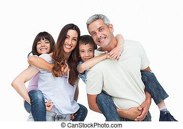 enfants, parents, leur, tenue, sourire, dos