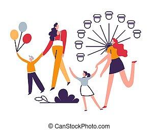 enfants, parents, week-end, amusement, famille, dehors, parc