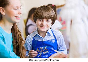 enfants, peinture, à, prof