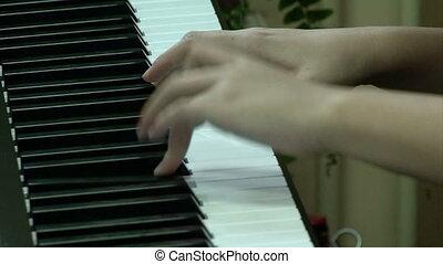 enfants, piano, mains