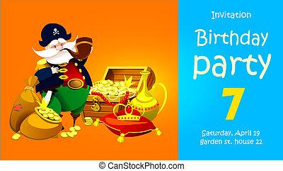 enfants, pirate, fête, treasure., invitation