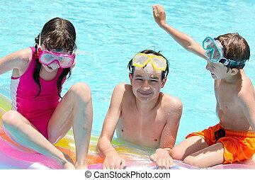 enfants, piscine, heureux