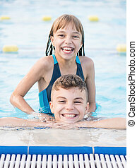 enfants, piscine