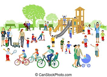 enfants, playground.eps, parents