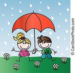 enfants, pluie, heureux