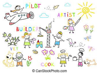 enfants, port travail, heureux