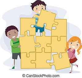 enfants, puzzle