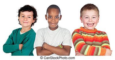 enfants, rigolote, trois