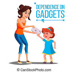 enfants, s, gadget, dépendance, vector., mère, prend, smartphone, depuis, daughter., parental, upbringing., isolé, dessin animé, illustration