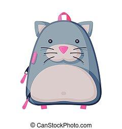 enfants, sac à dos, formé, style, blanc, rucksack, école, plat, devant, vecteur, fond, chat, vue, illustration, puéril