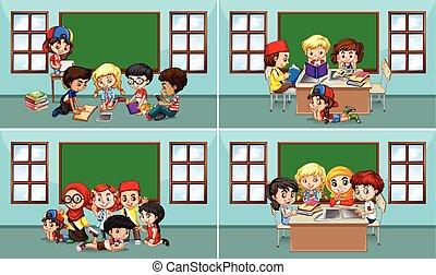 enfants salle classe, fonctionnement