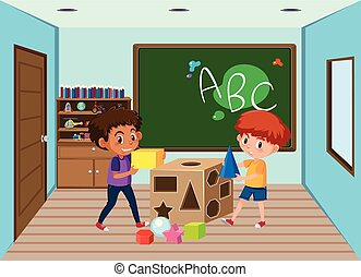 enfants salle classe, jouer