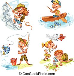 enfants, scout, gens, aventure, camping