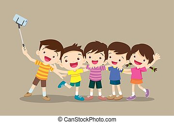 enfants, selfie, confection, photo